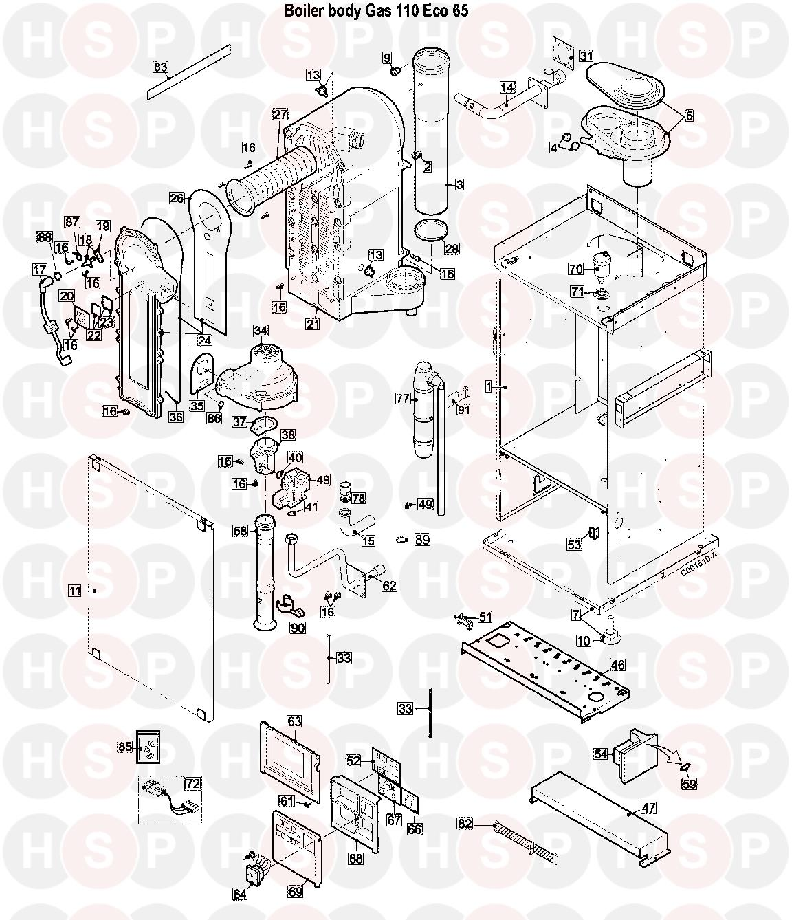Boiler Exploded View diagram for Remeha-Commercial Gas 110 Eco 65