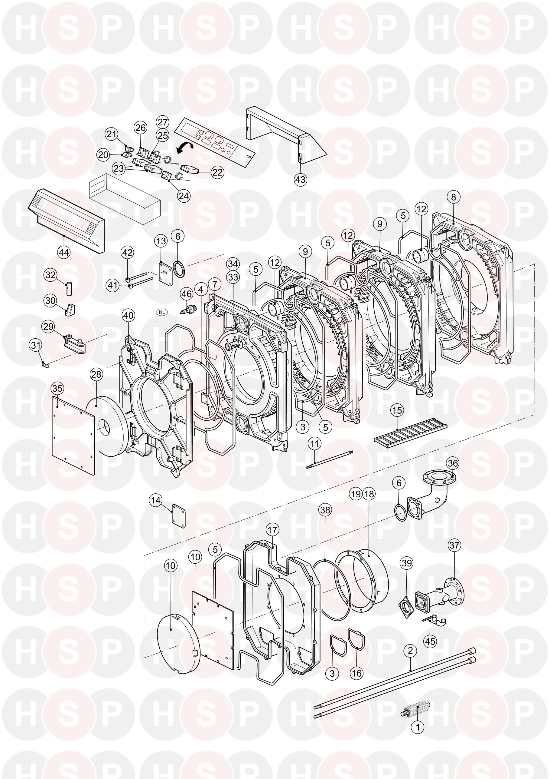 Boiler Exploded View diagram for Remeha-Commercial P500