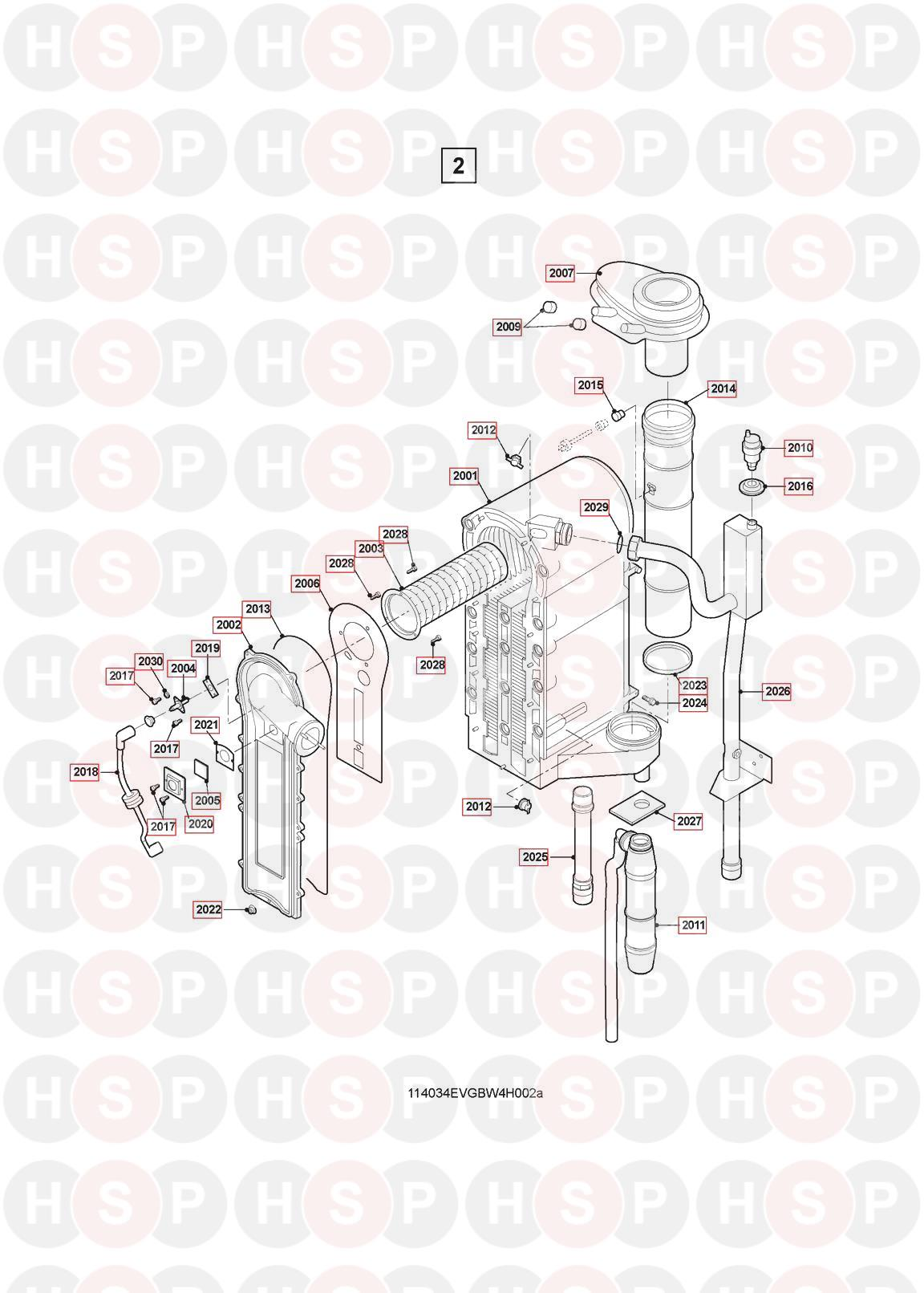 Burner Heat Exchanger diagram for Remeha-Commercial Quinta 115