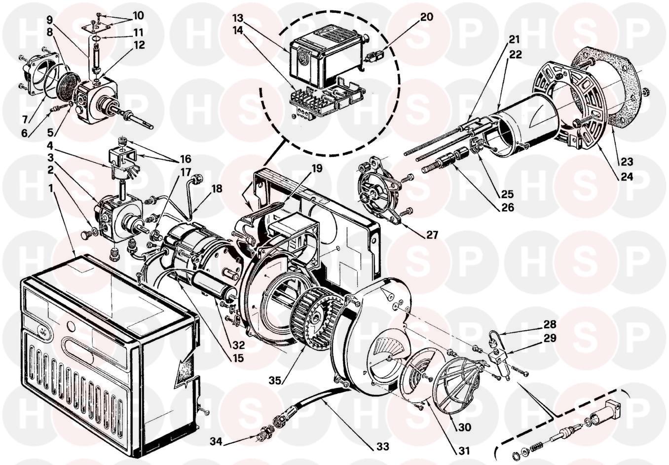 Riello RIELLO BURNER G3B A Appliance Diagram (RIELLO