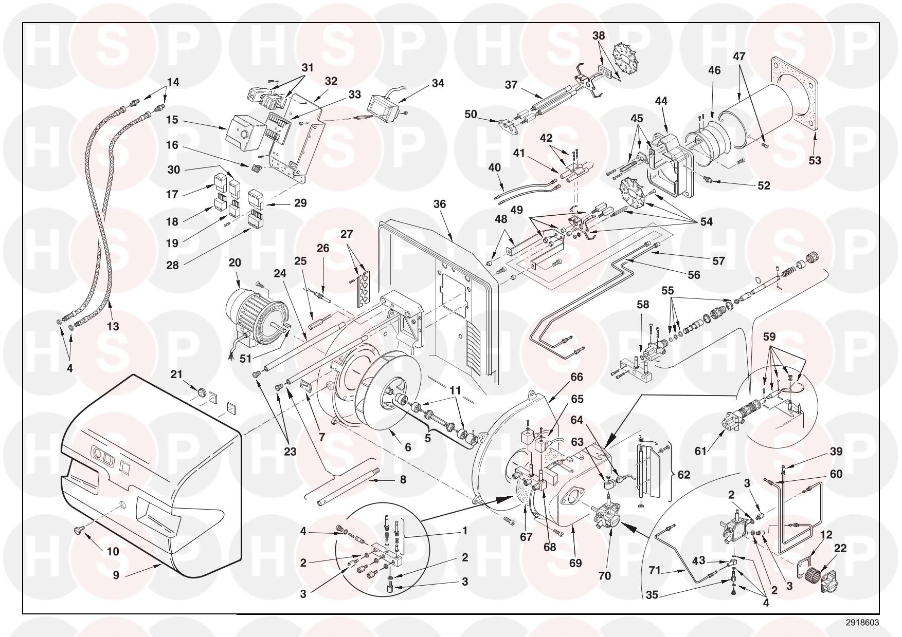 Riello RL 50 3470810 (TYPE 979 T) (BURNER EXPLODED VIEW
