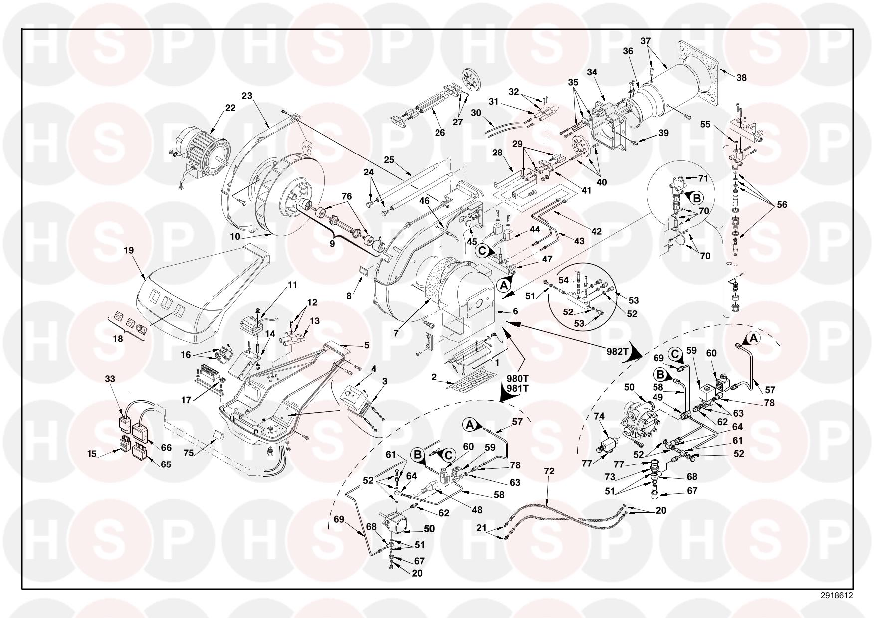 Riello RL 100 3471812 (TYPE 981T) (BURNER EXPLODED VIEW