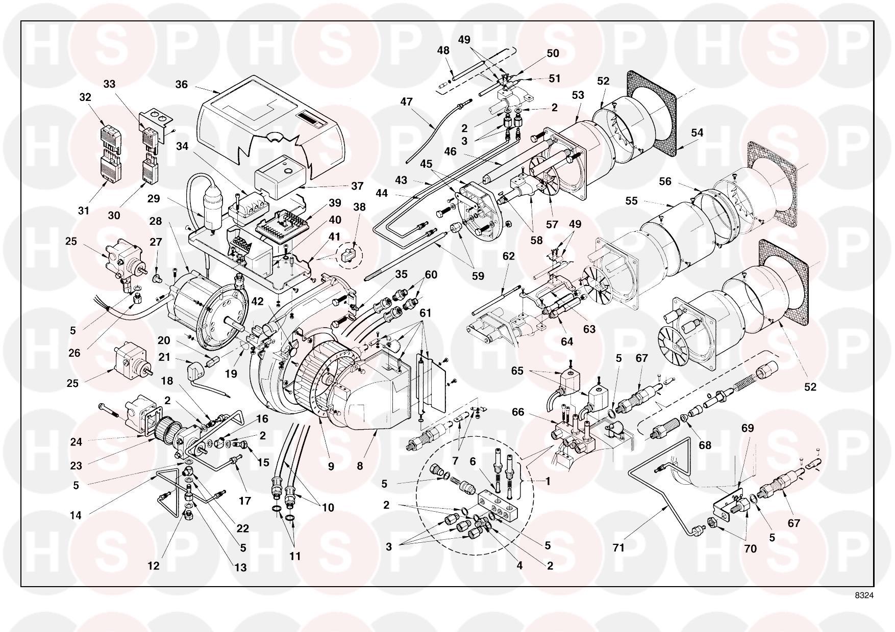 Riello PRESS GW 3473784 (TYPE 605 T80) (BURNER DIAGRAM