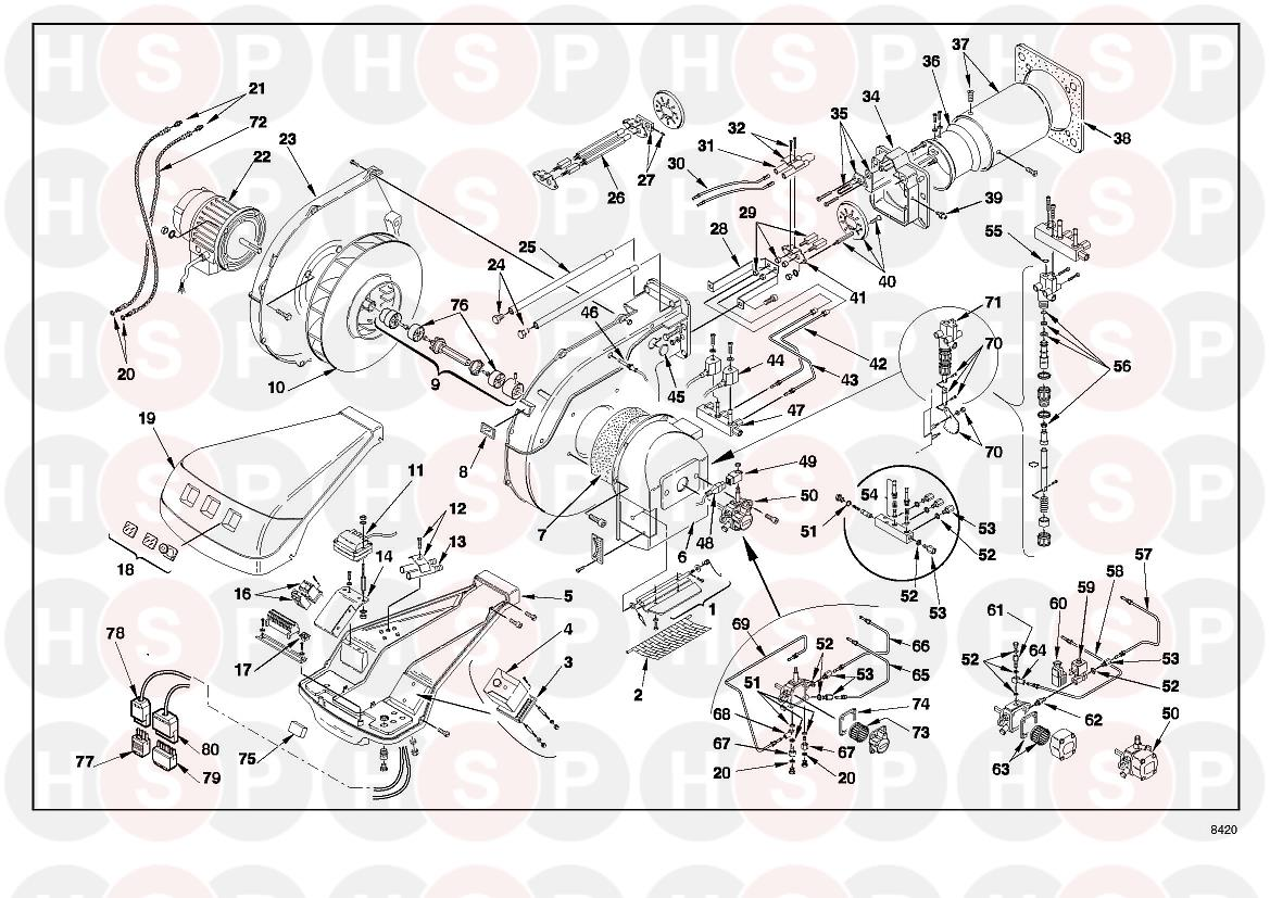 Riello RL 70 3475034 (TYPE 660 T1) (BURNER EXPLODED VIEW