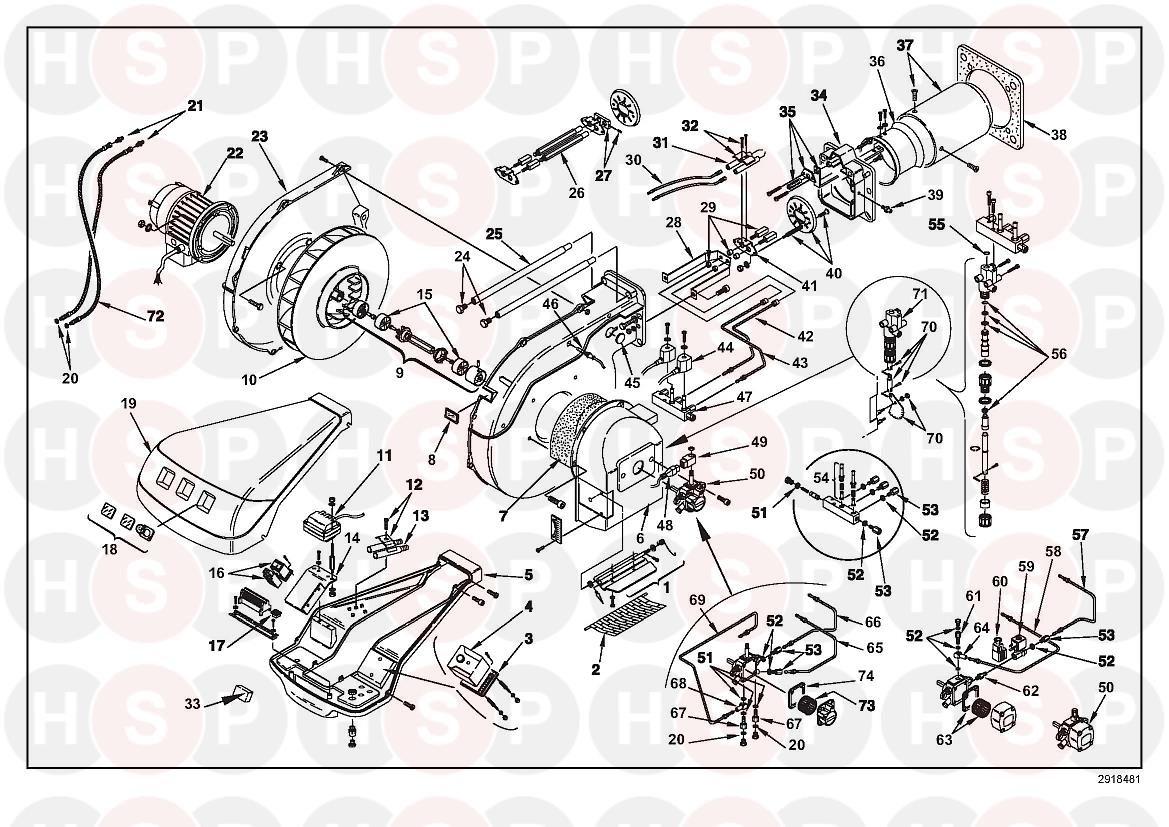 Riello RL 100 3475280 (TYPE 661 T80) (BURNER EXPLODED VIEW