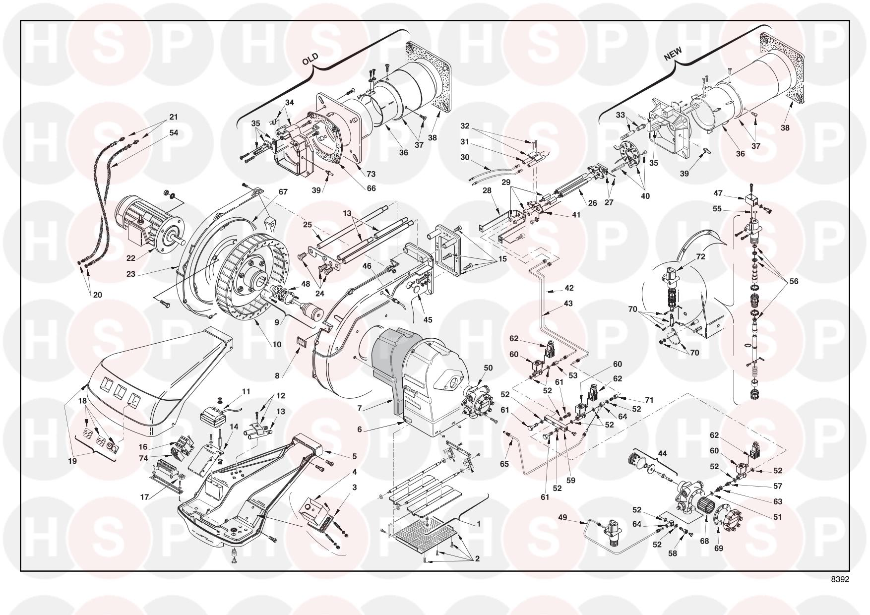 Riello RL 190 20011006 (TYPE 673 T1) (BURNER EXPLODED VIEW