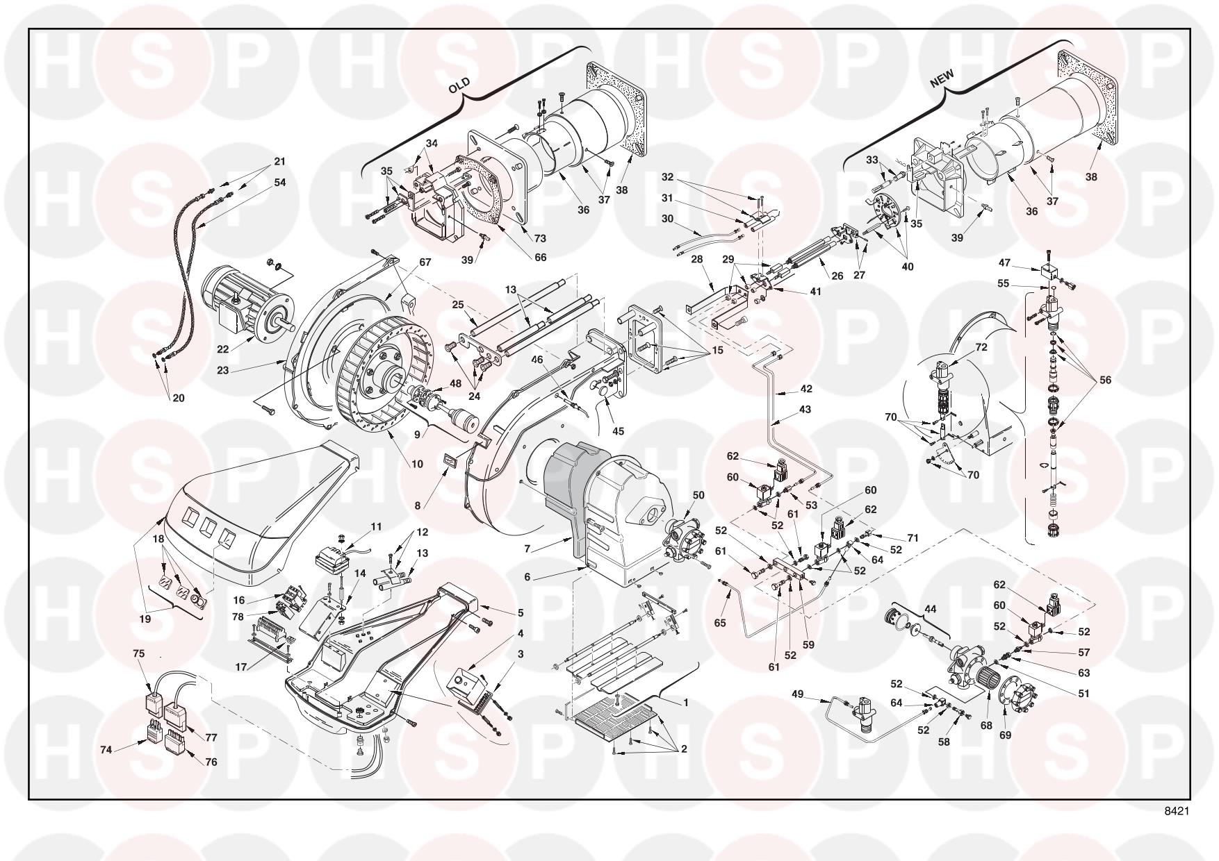 Riello RL 190 20011018 (TYPE 673 T1) (BURNER EXPLODED VIEW