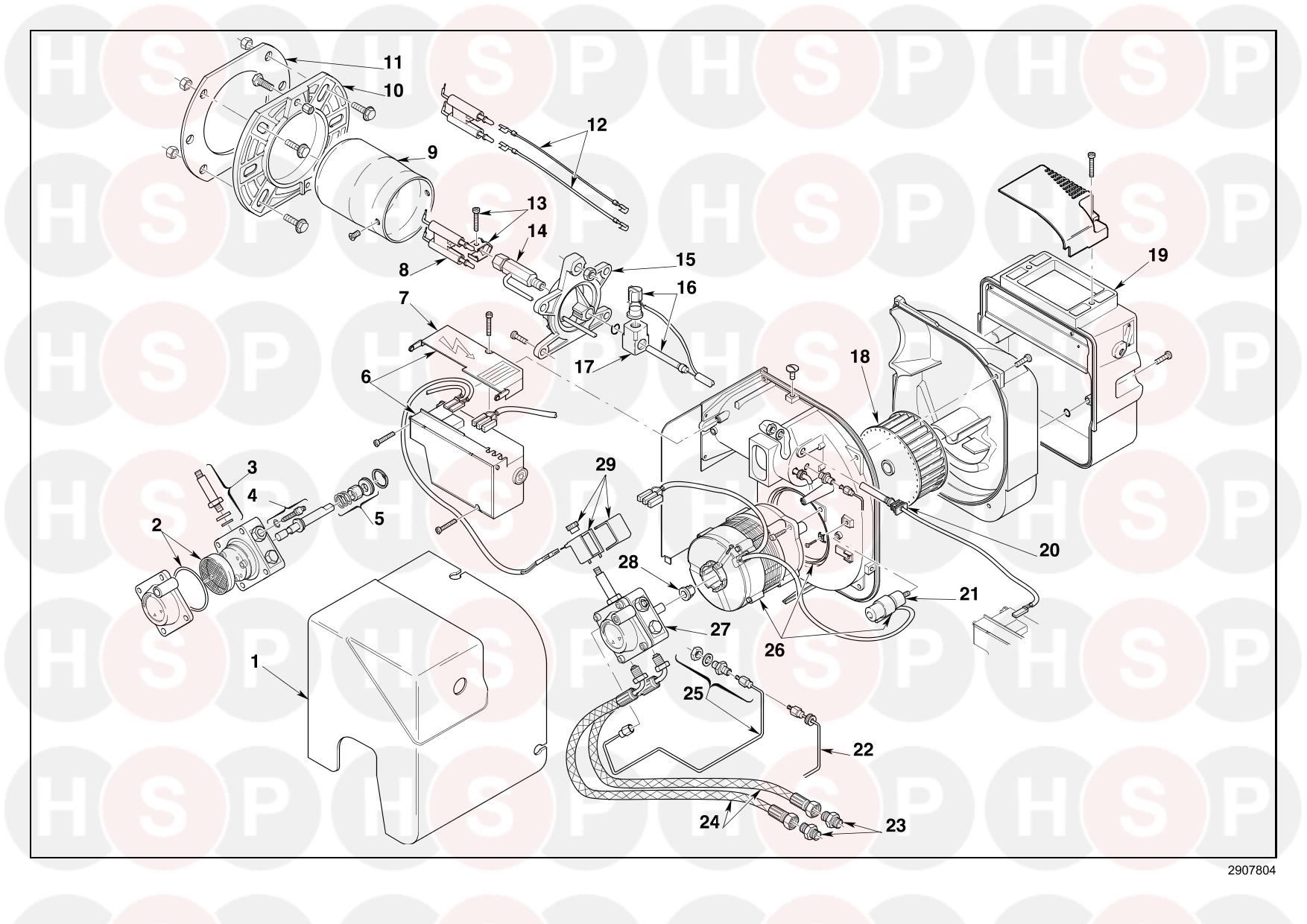 EXPLODED VIEW diagram for Riello RDB1R CF 33 (TYPE 501T2R)