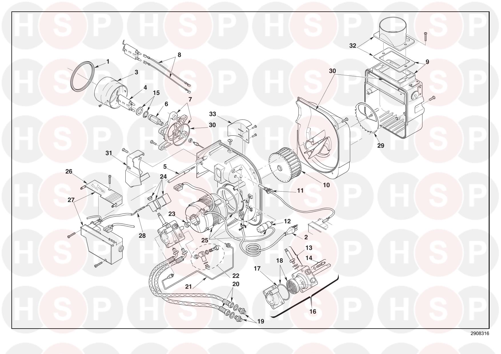 EXPLODED VIEW diagram for Riello RDB1 12/18 WH (TYPE 484LD2X)