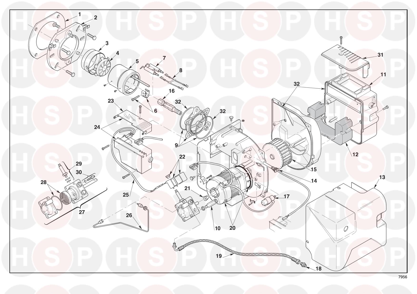 Riello RDB3.2 33/44 (TYPE490T59) (BURNER EXPLODED VIEW