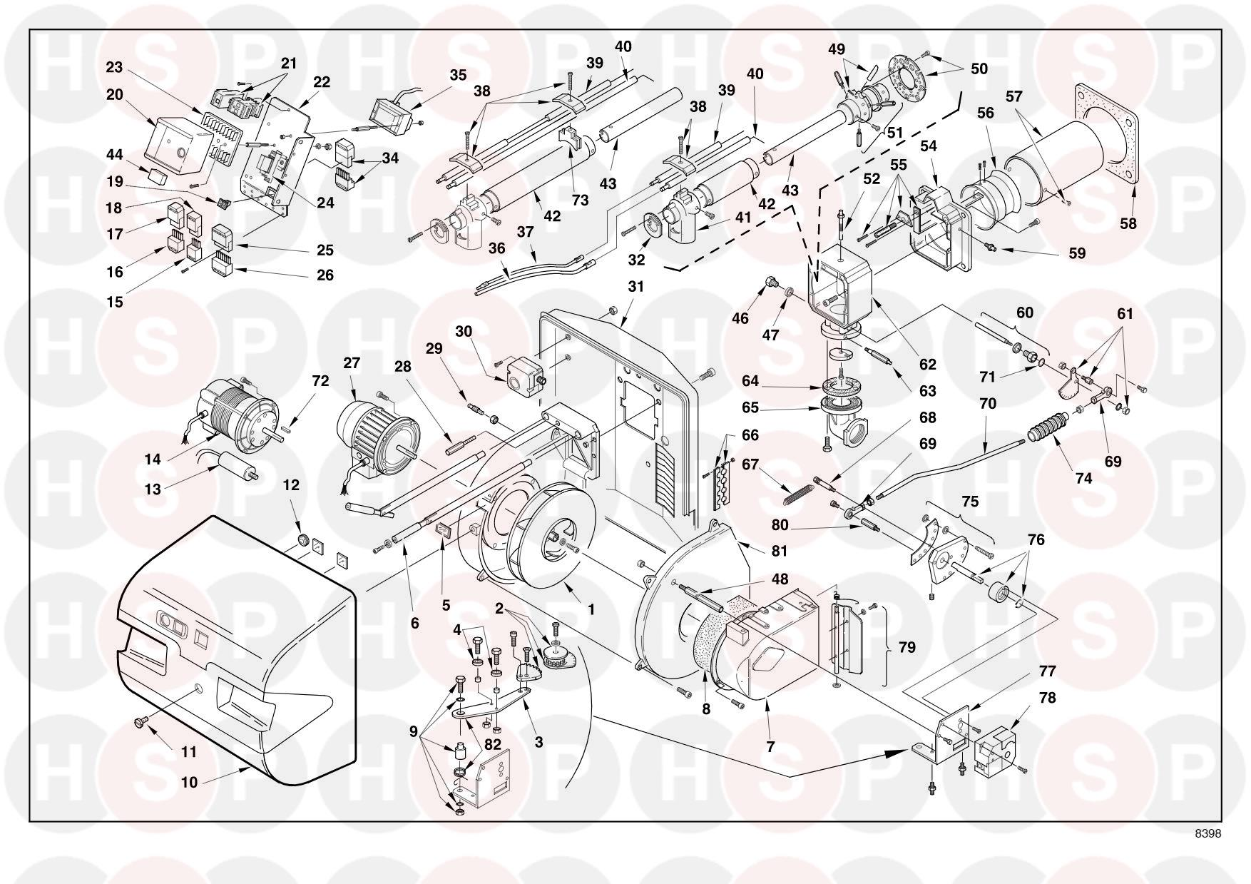 Riello Rs 28 3783301  Type 809 T1   Exploded View Diagram