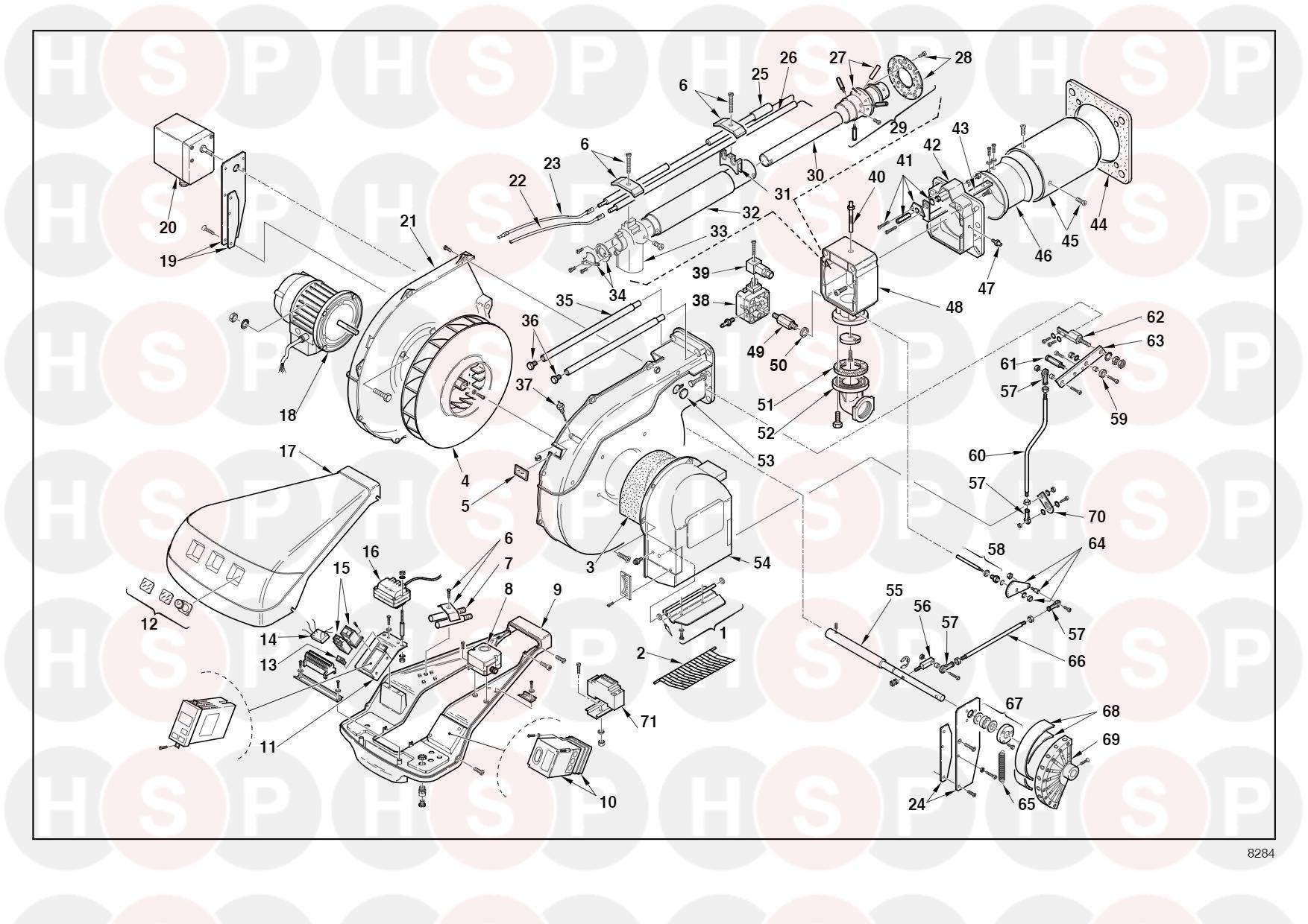 Riello Rs 100  M 3787240  Type 829 T40   Exploded View