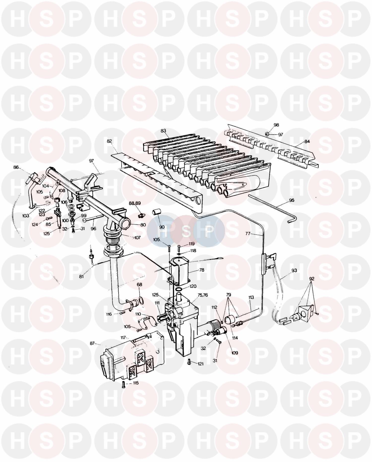 Saunier Duval SD 623 COMBI (BURNER & GAS VALVE)Diagram