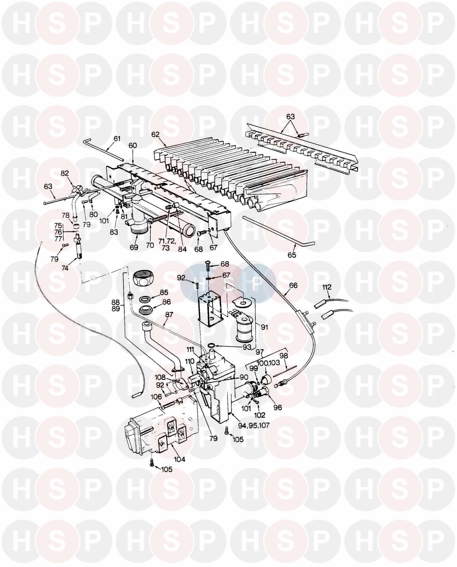 Saunier Duval THEMIS 223 (BURNER & GAS VALVE) Diagram