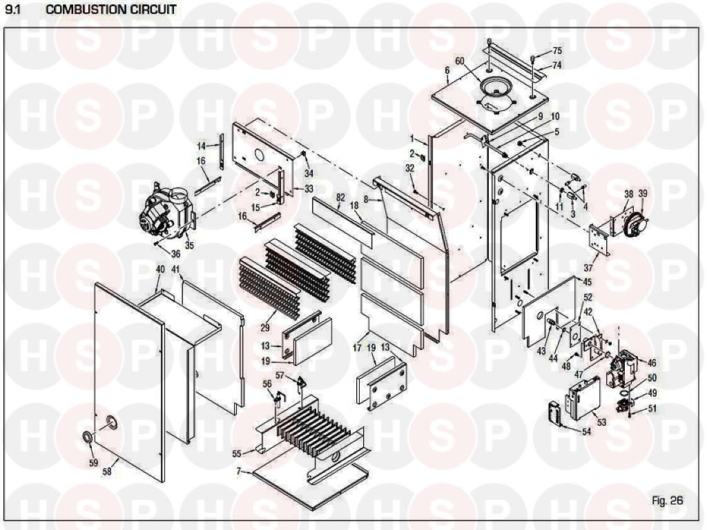 Sime SUPERIOR 40 CI Appliance Diagram (Combustion