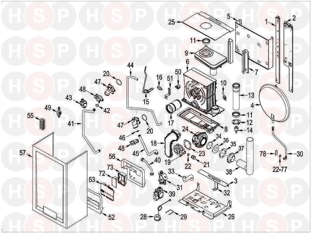Sime Format DGT 20 HE SYSTEM (BOILER ASSEMBLY) Diagram