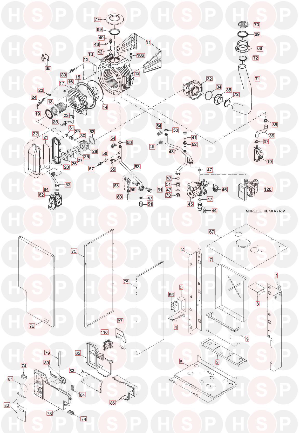 Sime he 50 r m boiler exploded view diagram heating spare parts boiler exploded view diagram for sime he 50 r m swarovskicordoba Gallery
