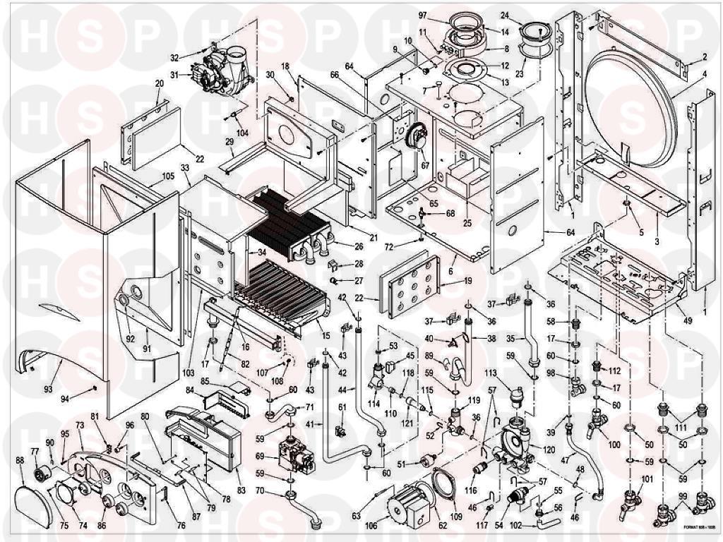sime format 100 b  boiler assembly  diagram