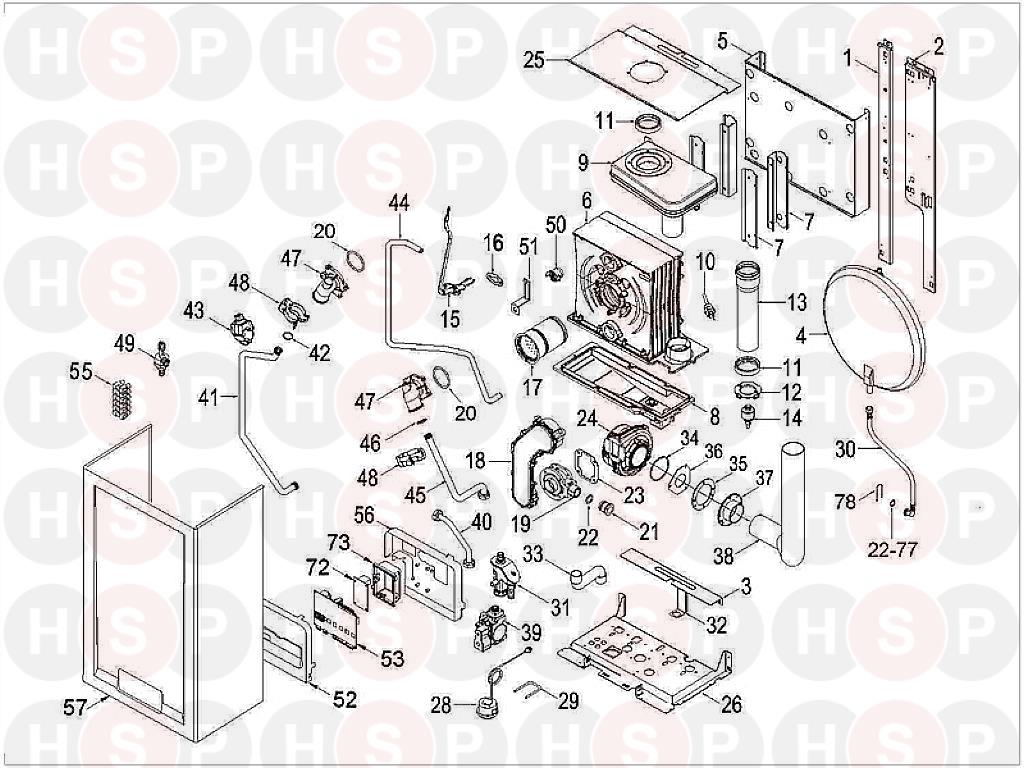 Sime Format DGT 25 HE Appliance Diagram (BOILER ASSEMBLY