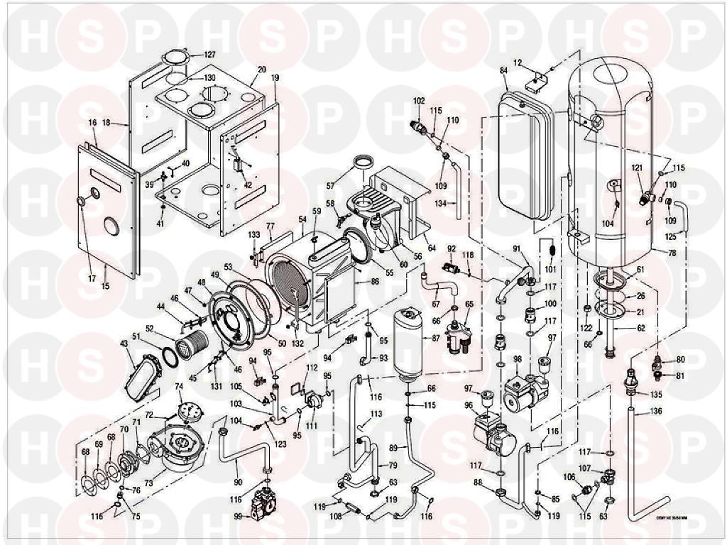 Sime Dewy 30-50 HE WM Appliance Diagram (BOILER ASSEMBLY