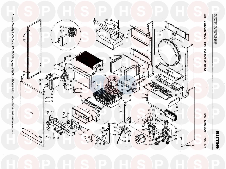 Sime FORMAT OF TECNYL Appliance Diagram (BOILER ASSEMBLY