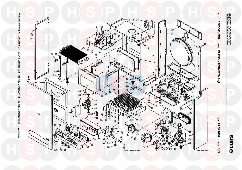 Sime FRIENDLY FORMAT TECHNYL Appliance Diagram (BOILER