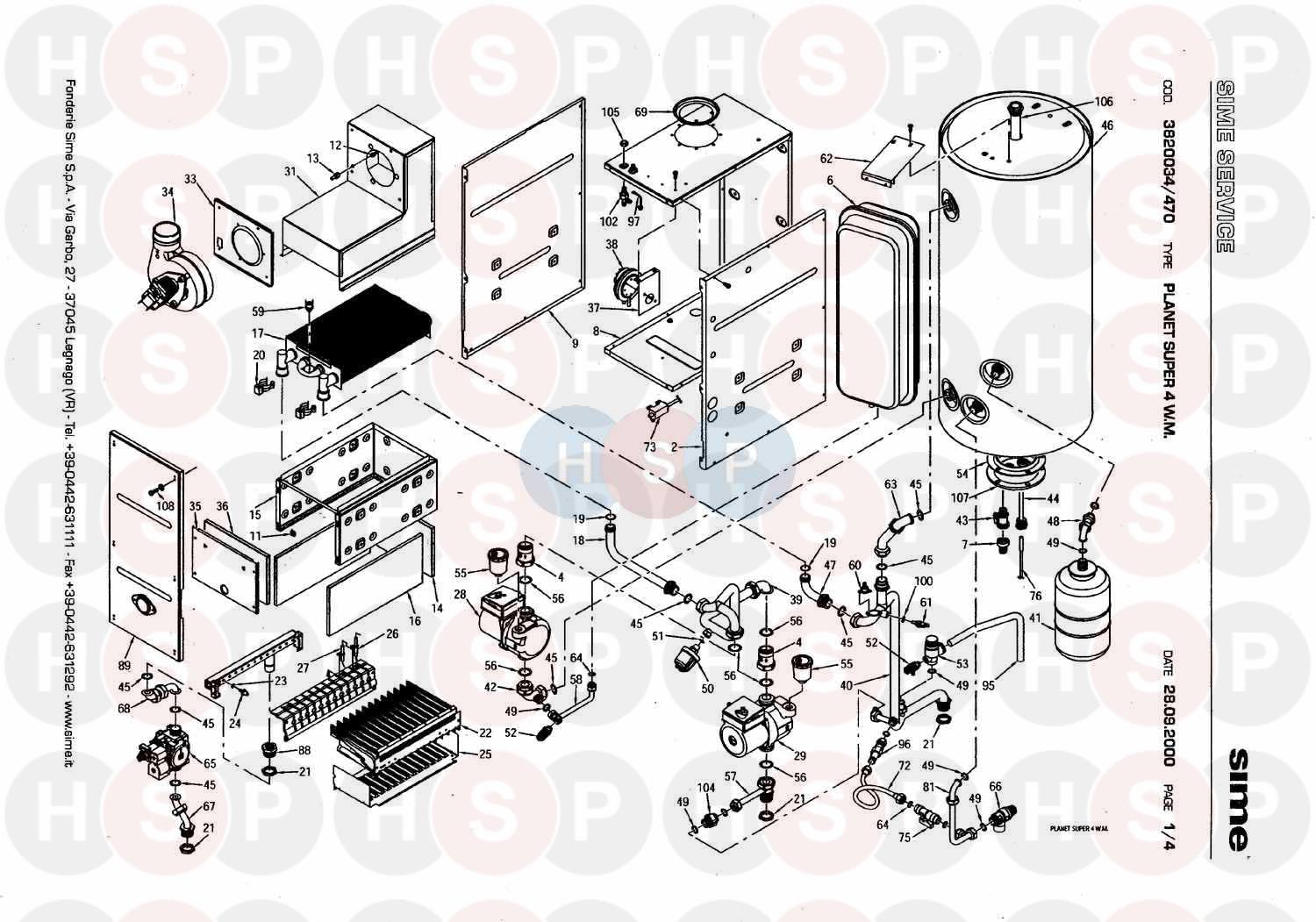 Sime PLANET SUPER 4 WM Appliance Diagram (BOILER ASEMBLY