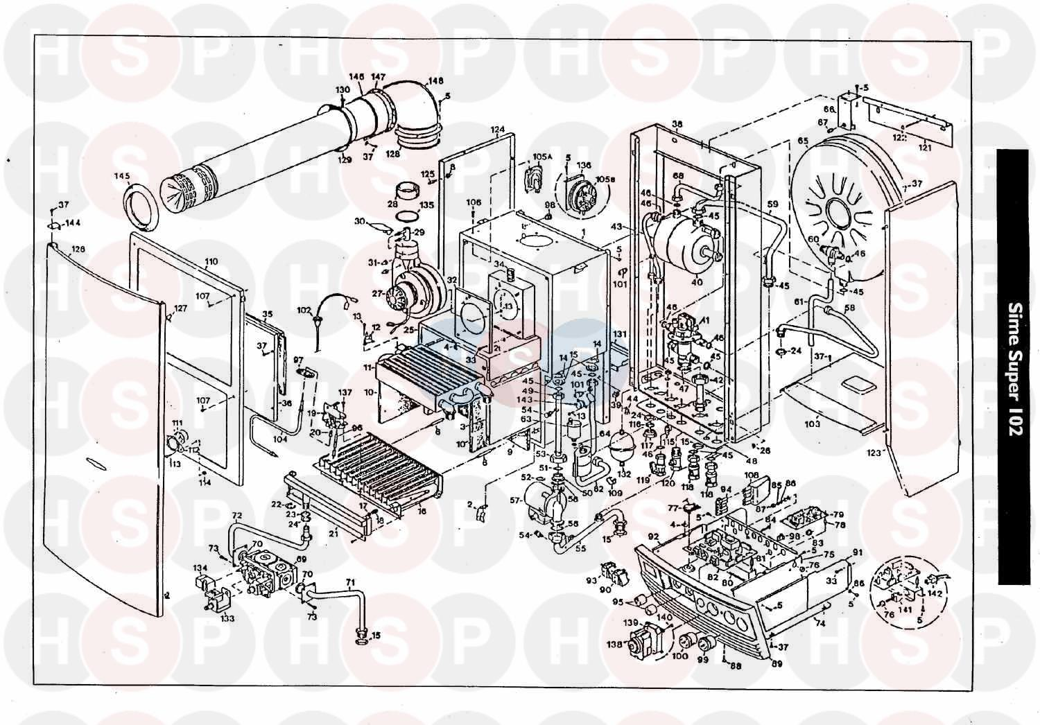 Sime Super 102 Deluxe Exploded View Diagram Heating