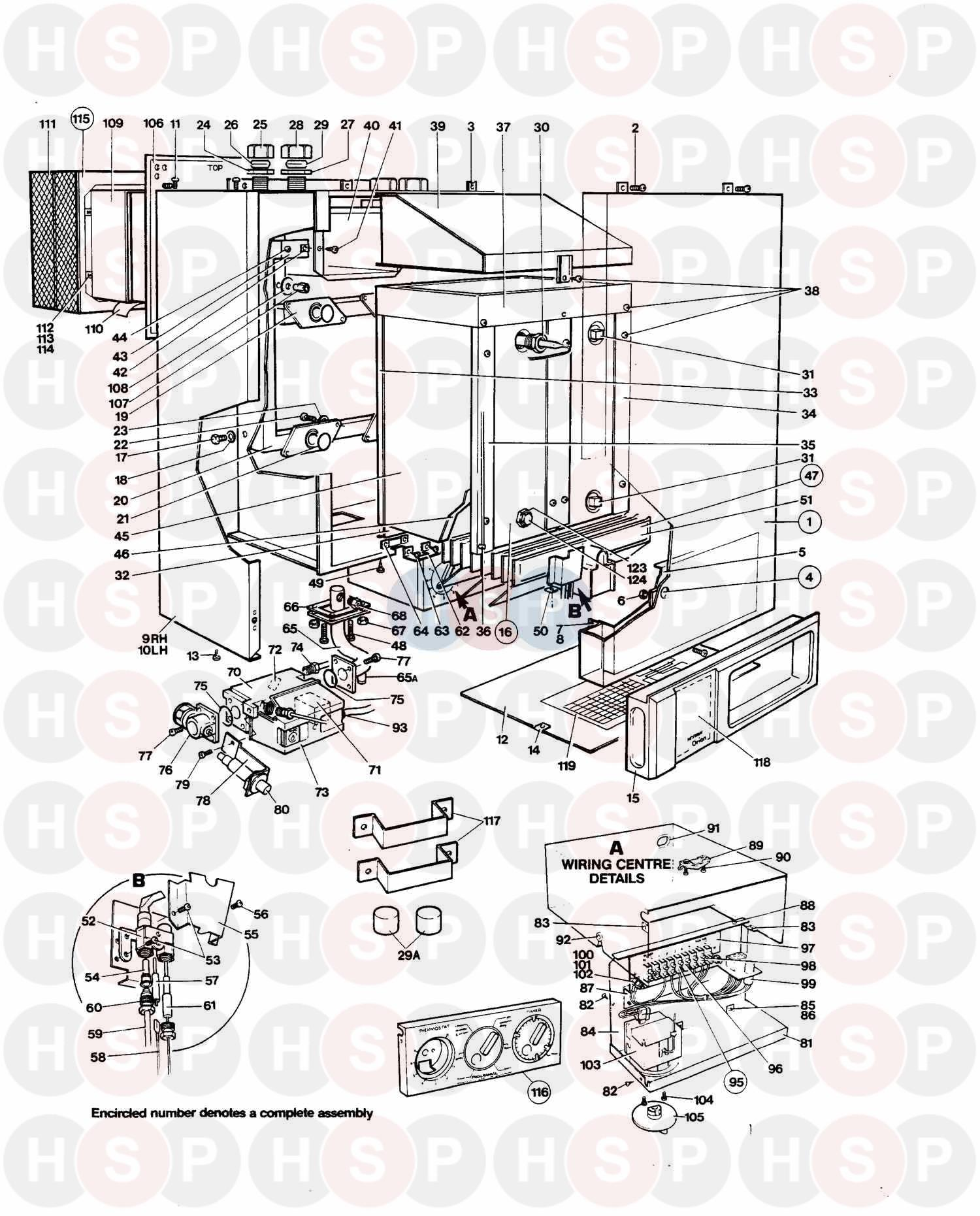 thorn orion 50 b 1991 assembly diagram heating spare parts. Black Bedroom Furniture Sets. Home Design Ideas