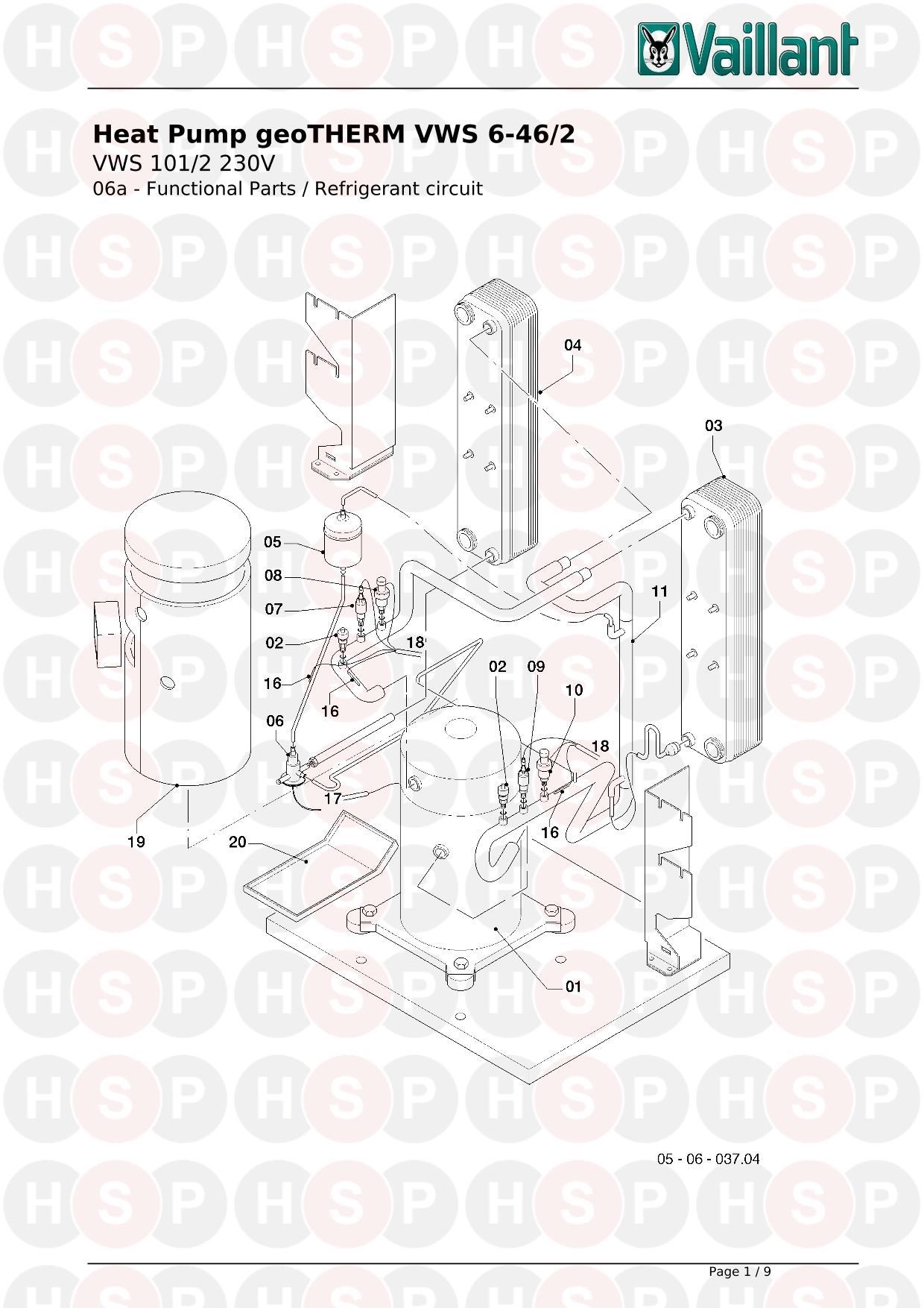 Vaillant gEOTHERM VWS 101/2 230V (6A REFRIGERANT CIRCUIT