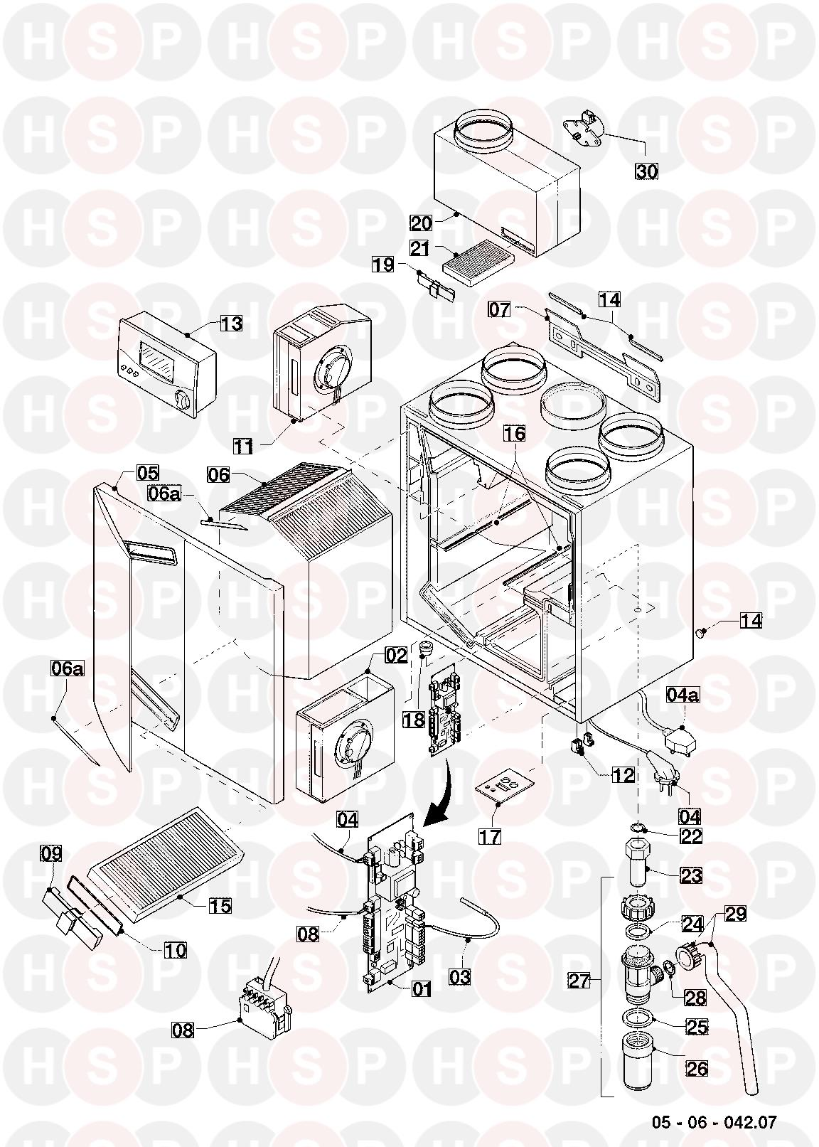 Vaillant recoVAIR VAR 275/3 R1 2009-2014 Appliance Diagram