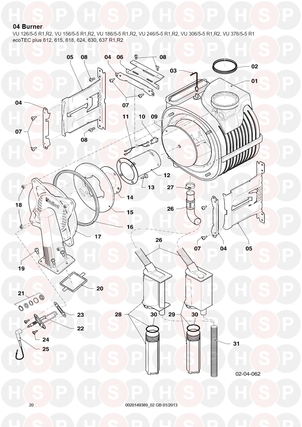 Vaillant Ecotec Plus 612 615 618 624 630 637 04 Burner Sheet 2 R2 Engine Diagram For
