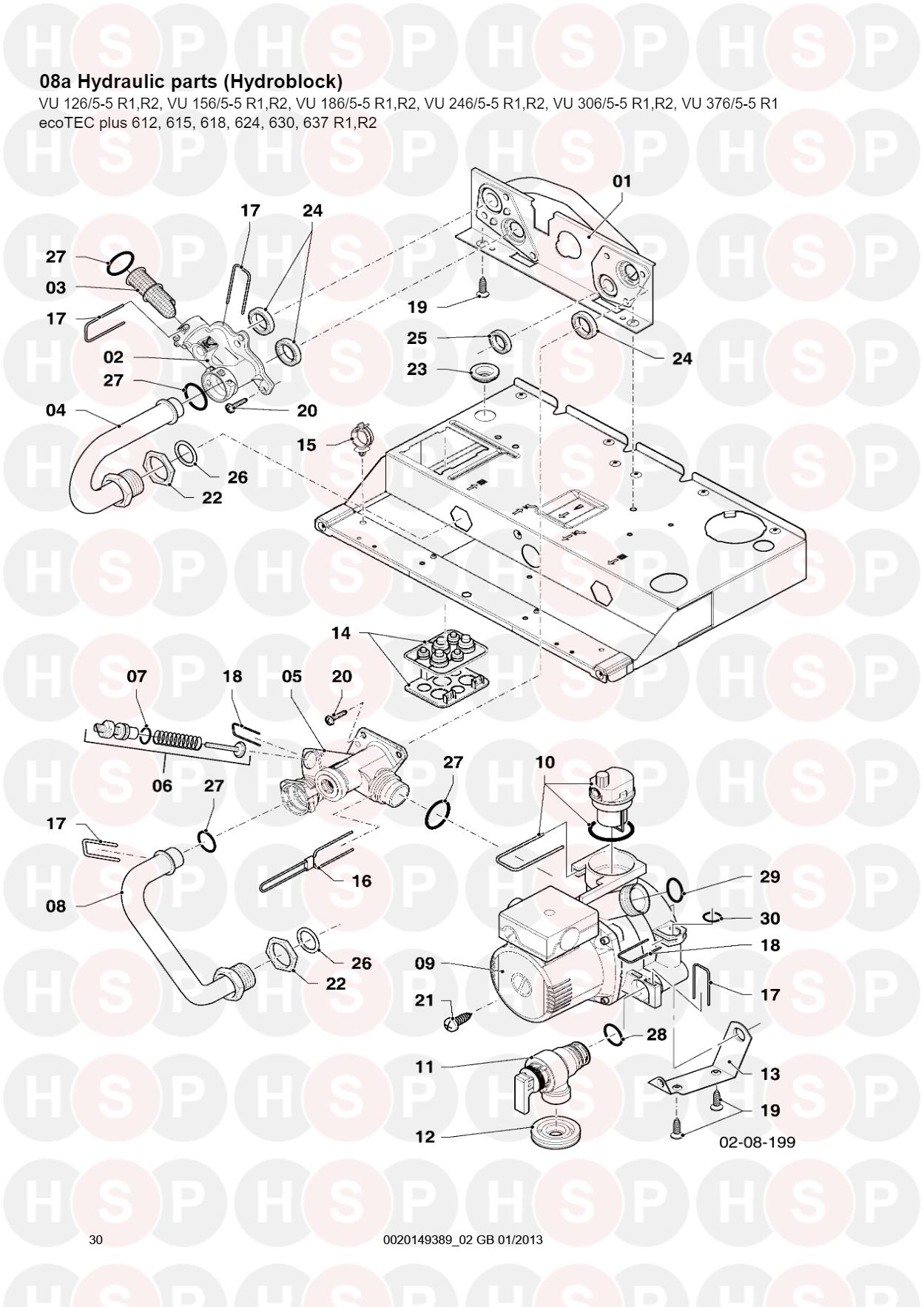 Vaillant ecotec plus 612 615 618 624 630 637 08a hydraulic 08a hydraulic parts hydroblock sheet 2 diagram for vaillant ecotec plus 612 615 asfbconference2016 Images