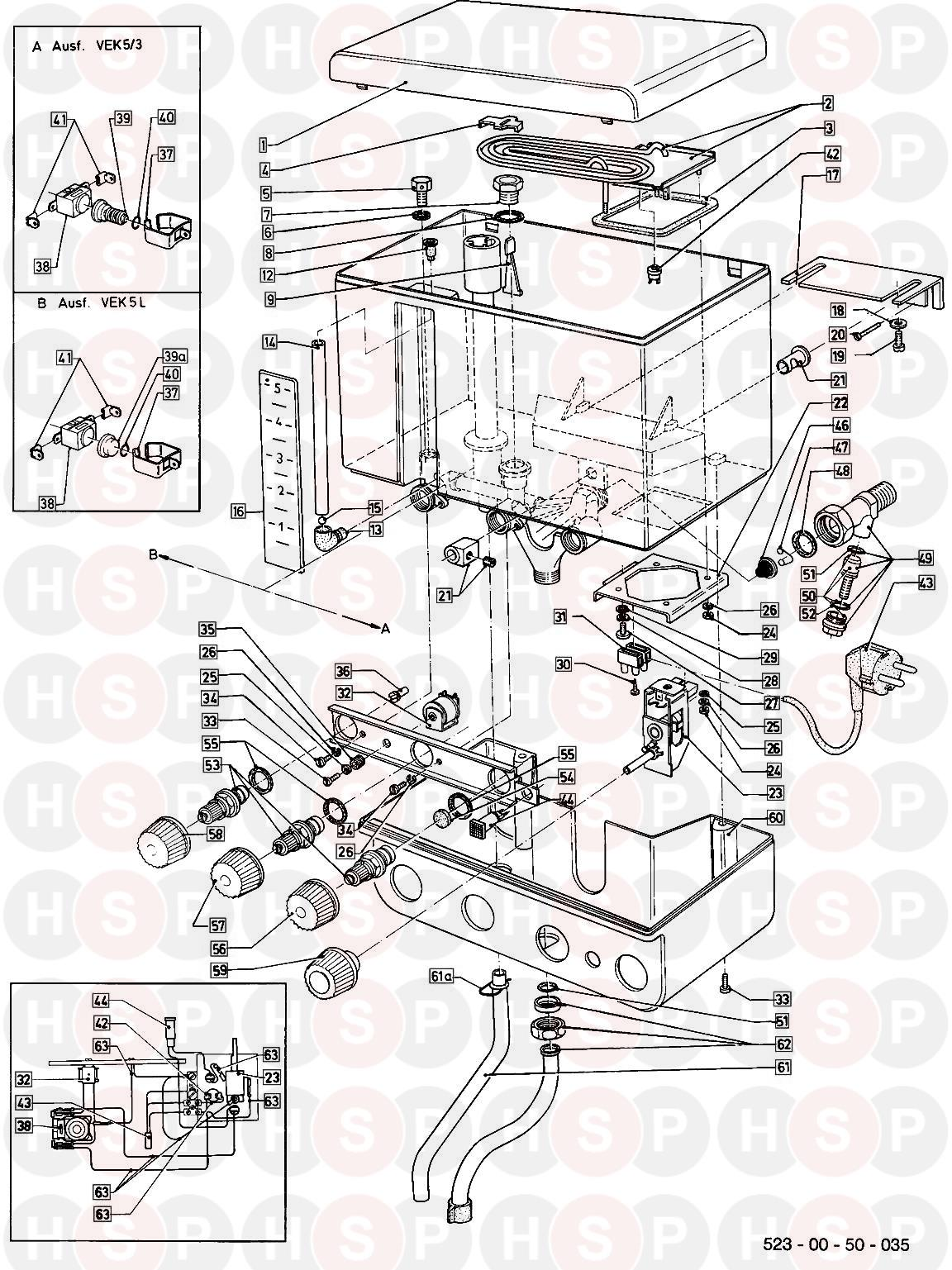 Vaillant VEK 5/3L WATER HEATER 1987-1995 (EXPLODED VIEW