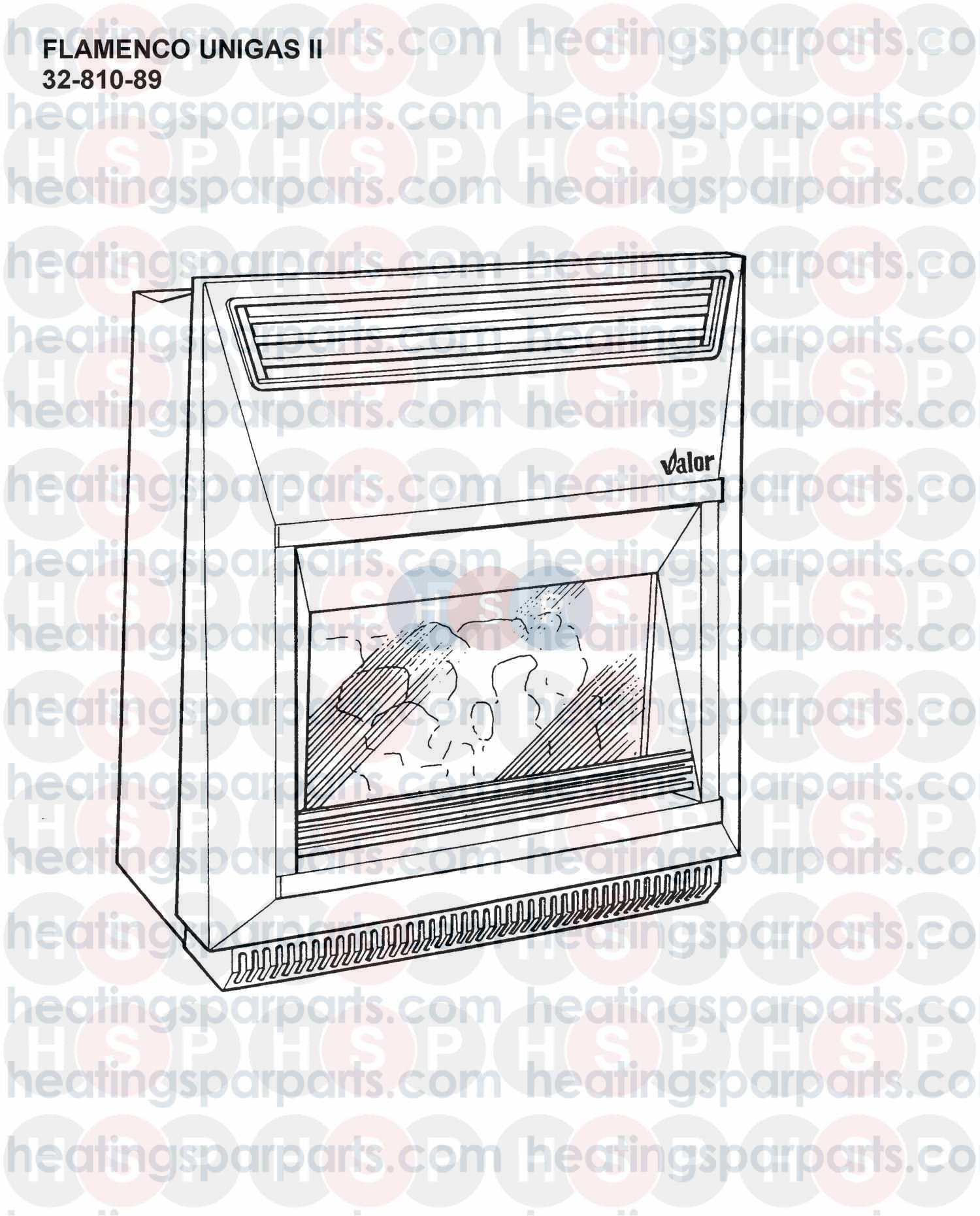 Valor Gas Fire Flamenco Unigas Ii  Appliance Overview  Diagram