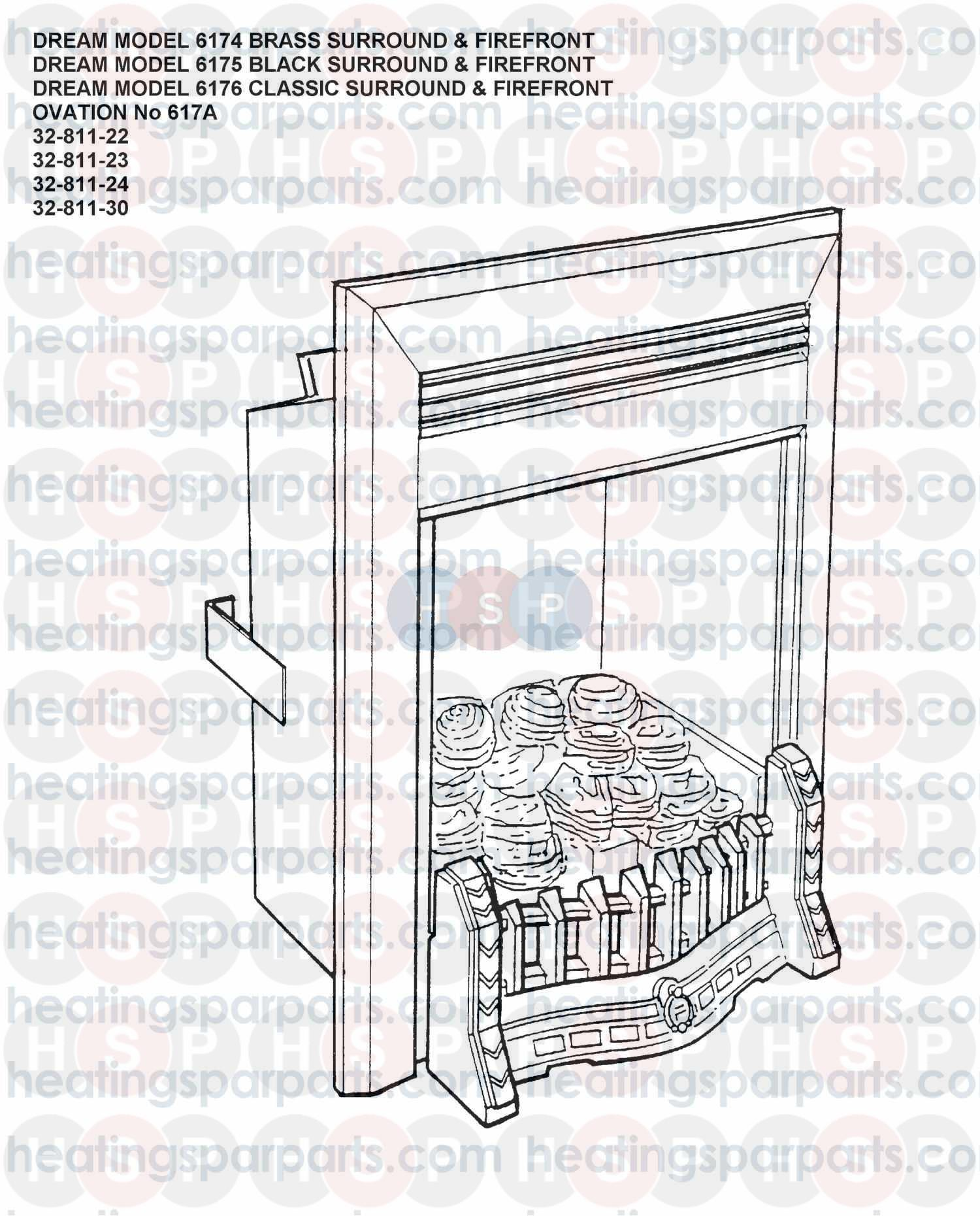 valor gas fire dream model 6174 brass surround and