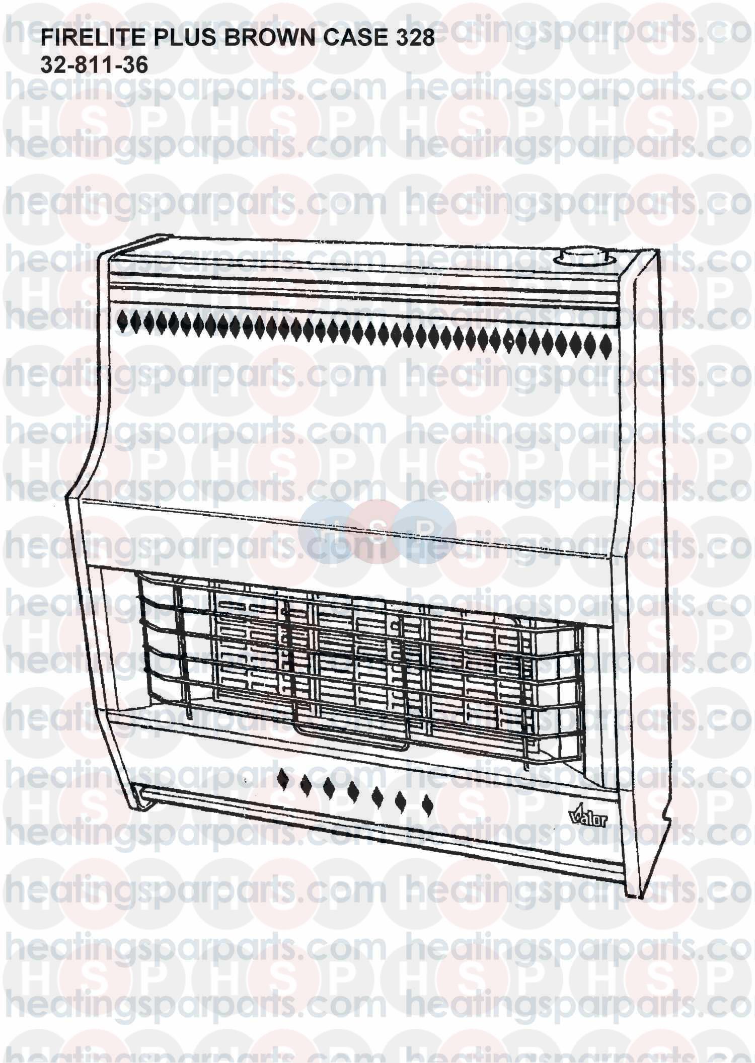 Valor Gas fire FIRELITE PLUS (BROWN CASE) MODEL NO.328