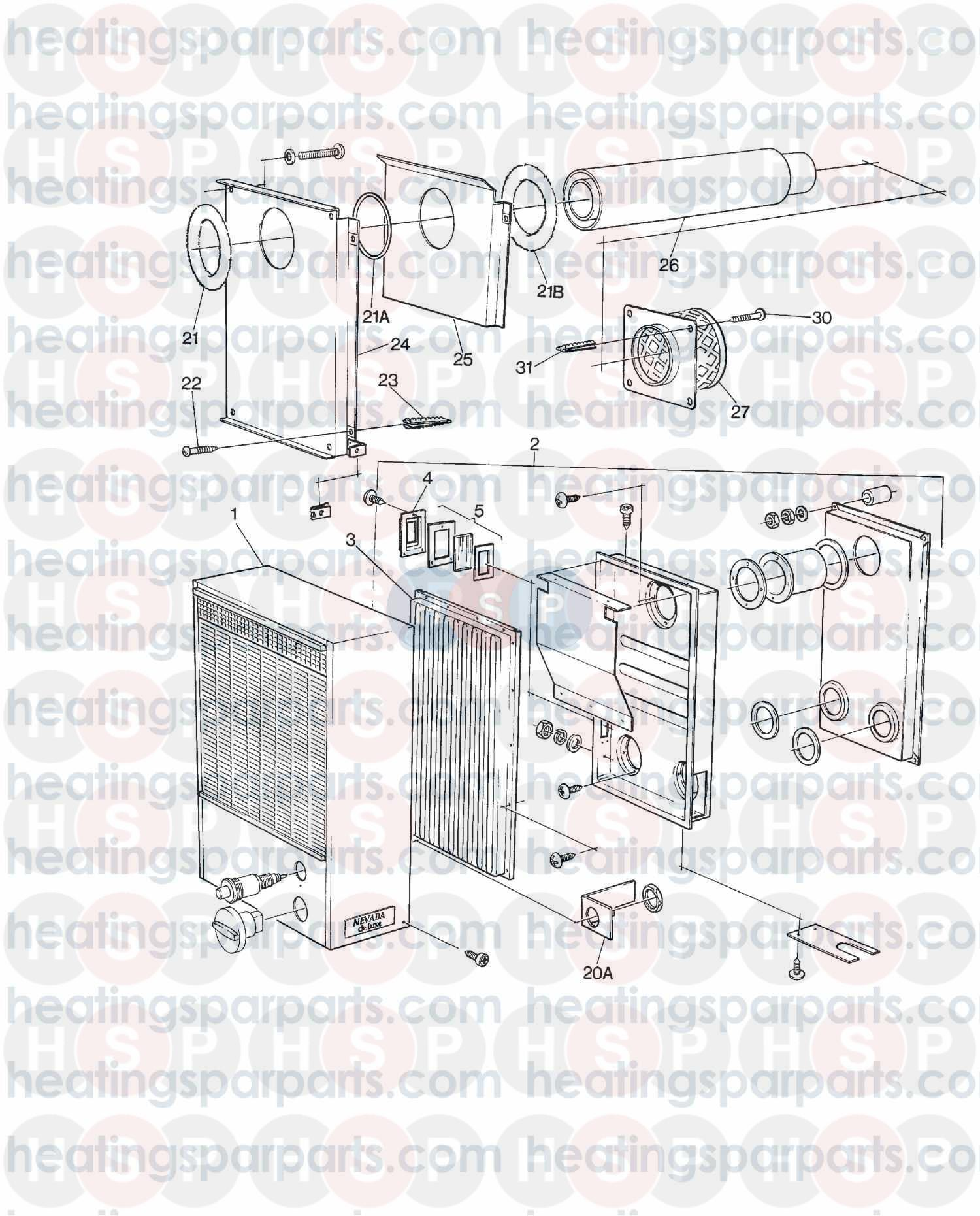 Valor Gas Fire NEVADA DELUXE BF CONVECTOR (EXPLODED VIEW 2