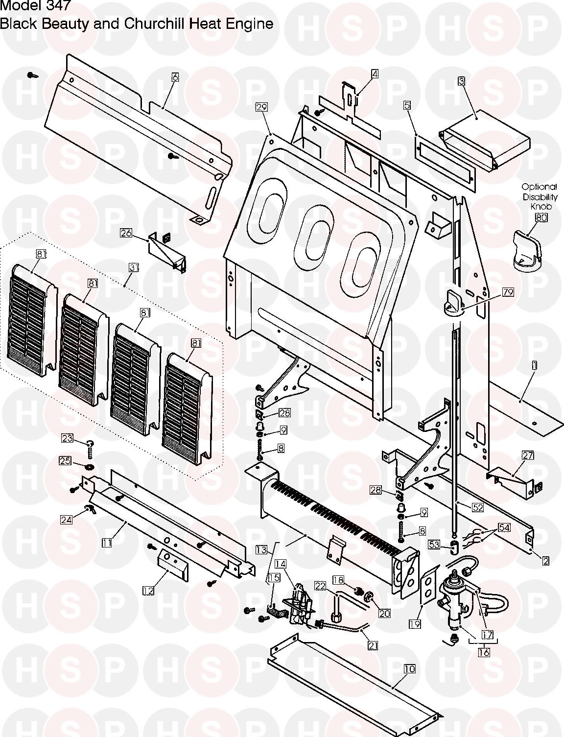 ENGINE diagram for Valor Gas Fire Model 347 BLACK BEAUTY Click the diagram  to open it on a new page
