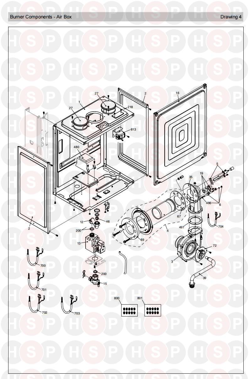 Burner diagram for Vokera Linea 25 HE Rev 9 (06/2008)