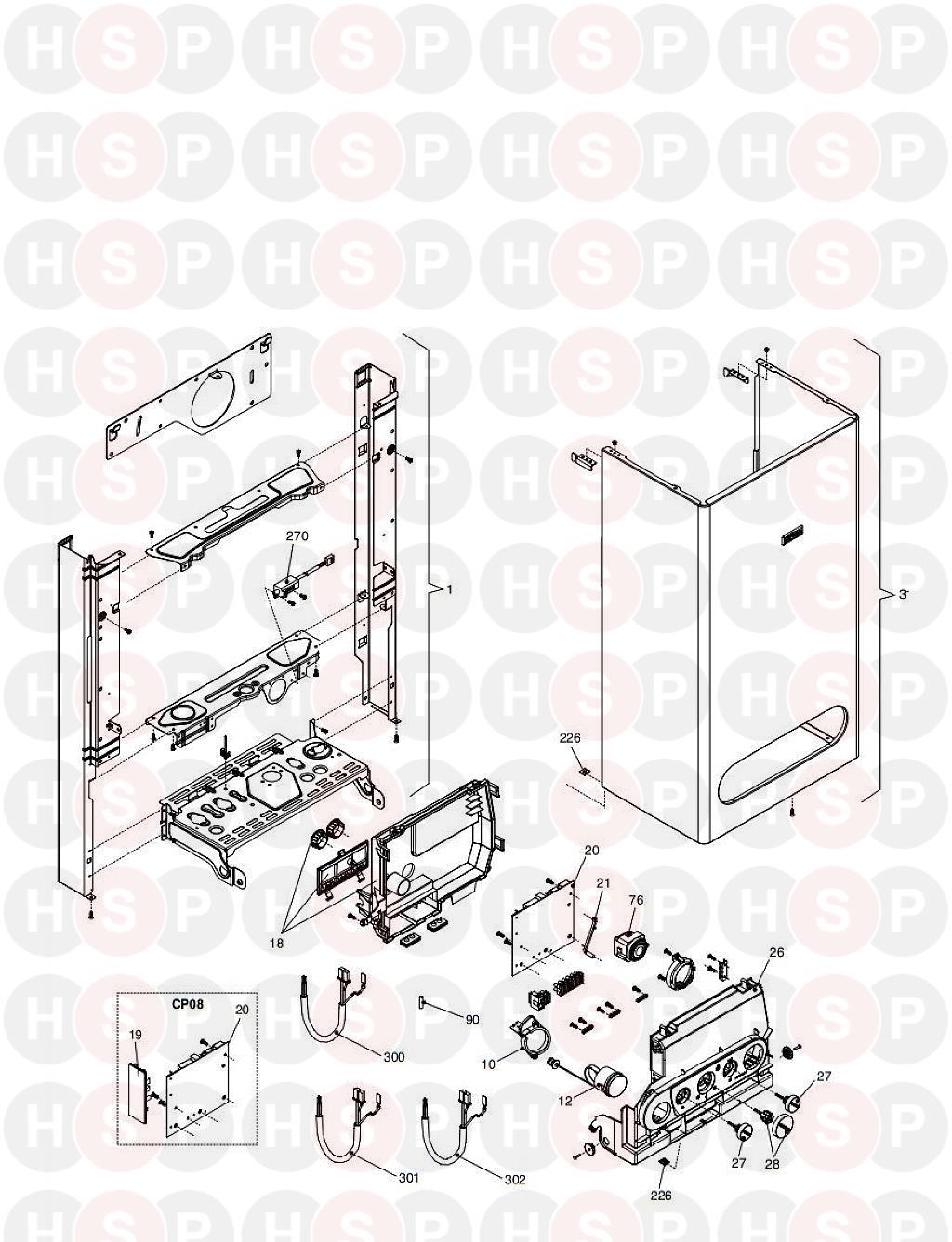 vokera compact 28  frame casing  diagram