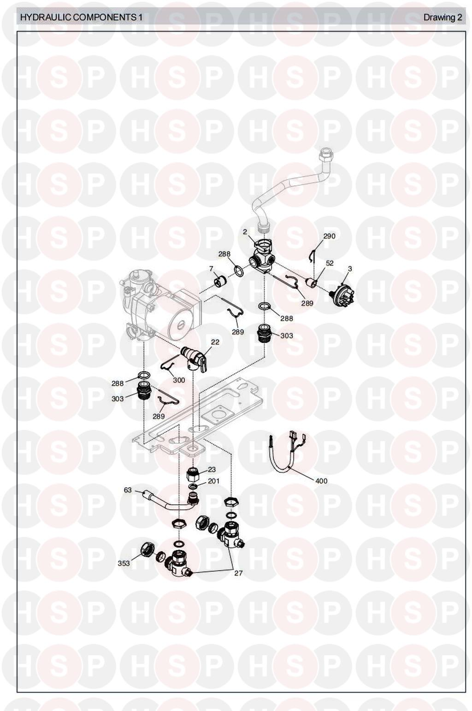 Vokera MYNUTE 16E Appliance Diagram (HYDRAULICS 1