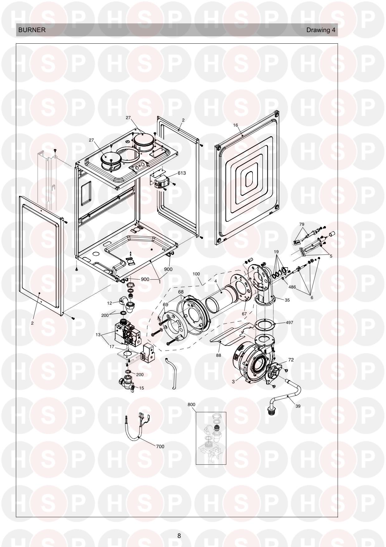 Burner diagram for Vokera Mynute 20 VHE Rev 15 (02/2017)