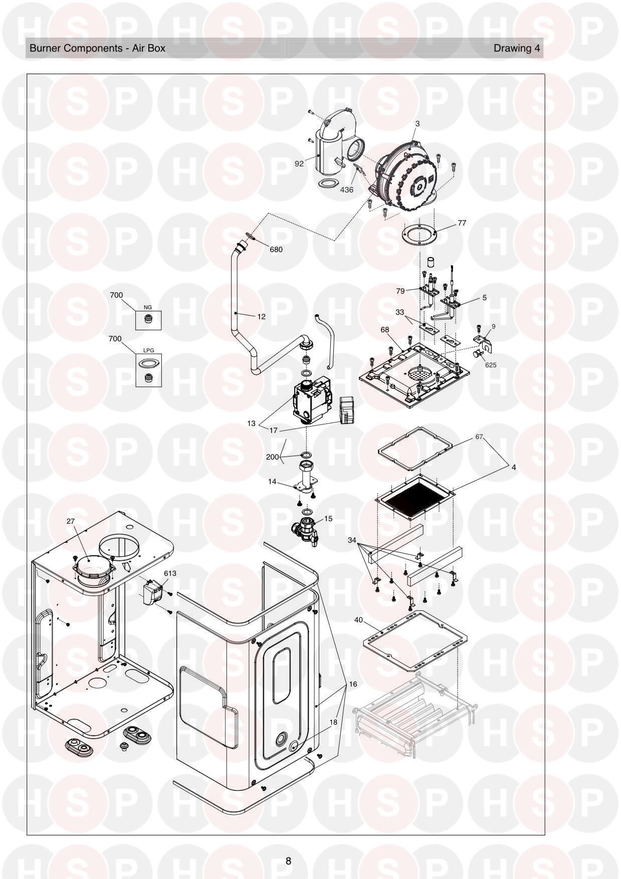 Burner diagram for Vokera Vision 25S ERP Rev 11 (01/2019) LPG