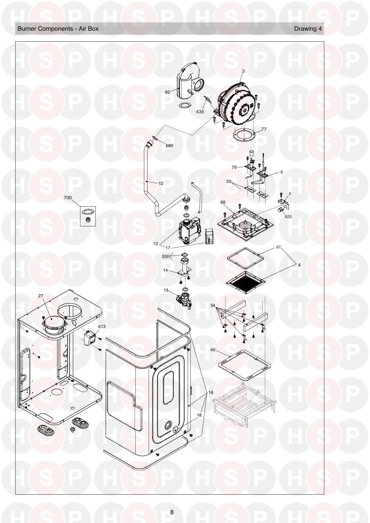 Burner diagram for Vokera Vision 20S ERP Rev 9 (01/2019)