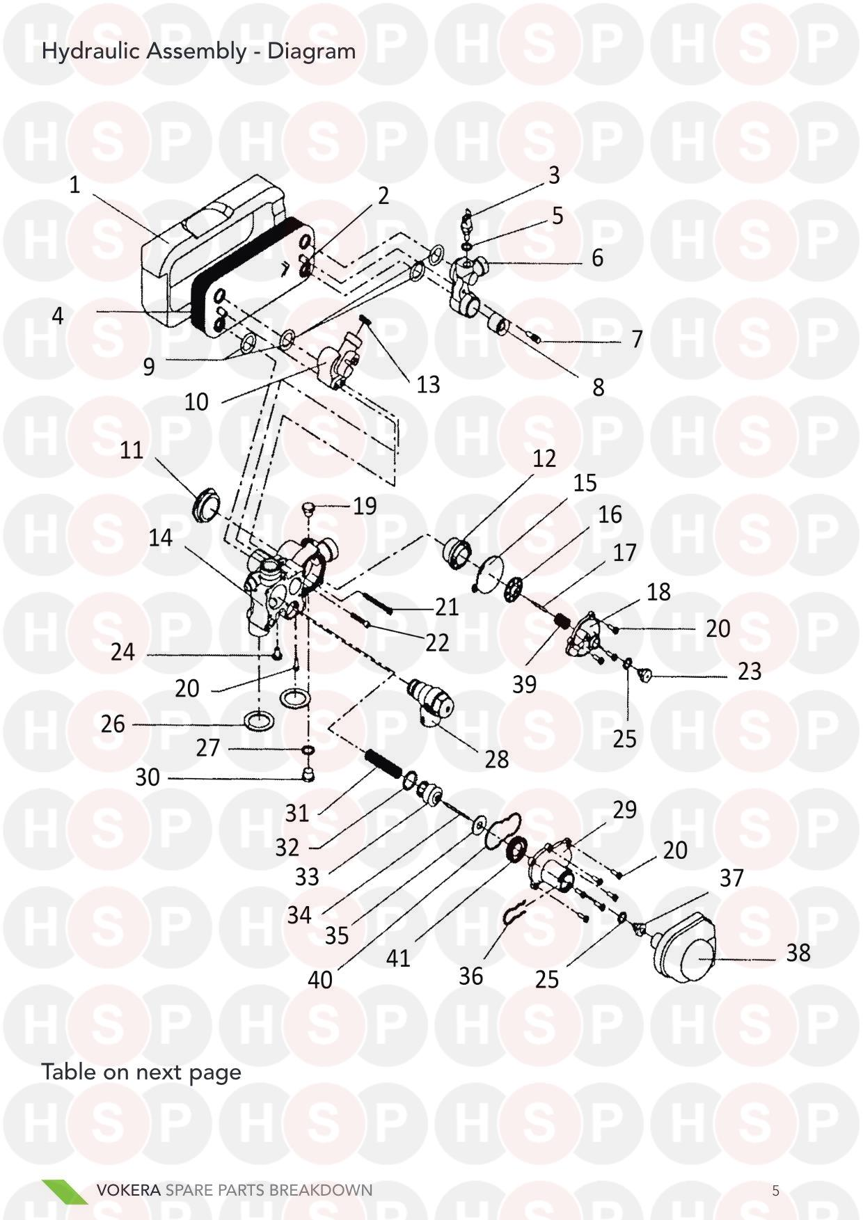 Hydraulics diagram for Vokera 24 Mark 1 Serial # Up To 161380001