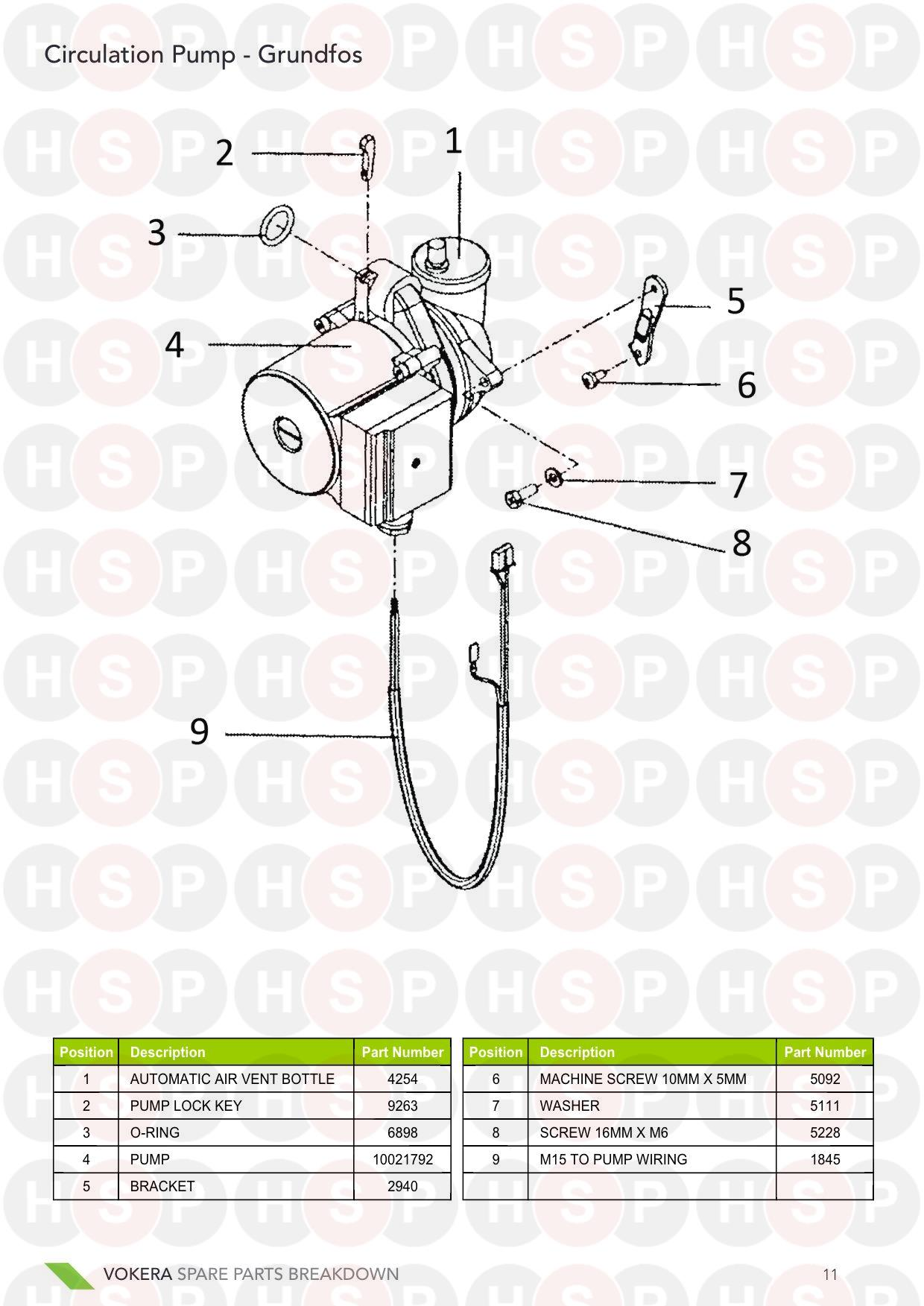 Pump diagram for Vokera 24 Mark 1 Serial # Up To 161380001