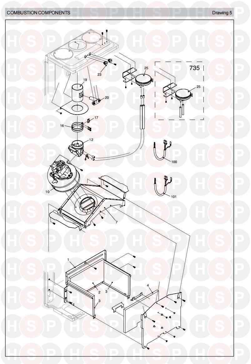 Vokera Linea 735 Appliance Diagram (COMBUSTION CHAMBER