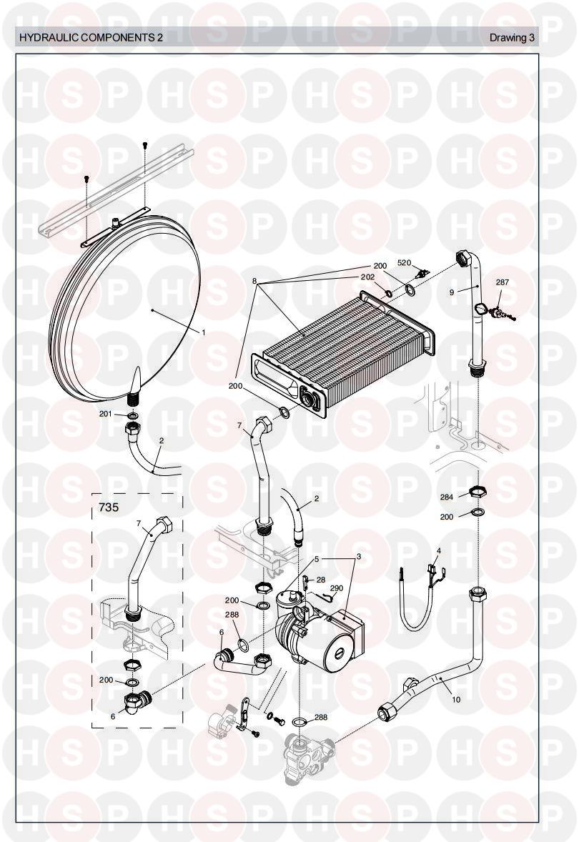 Vokera Linea 735  Hydraulics 2 Diagram
