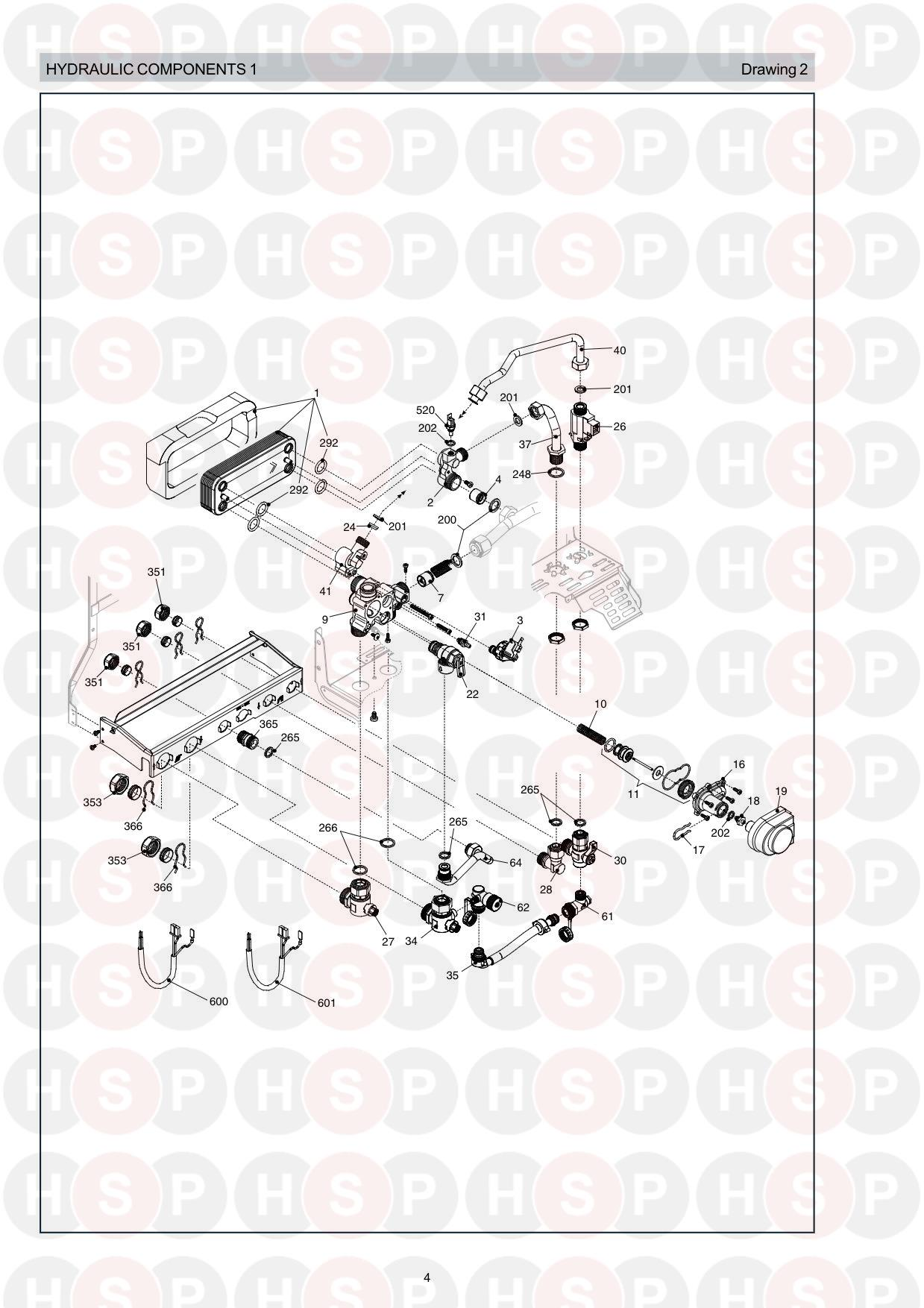 Hydraulics 1 diagram for Vokera Syntesi 35 Rev 6 (09/07)